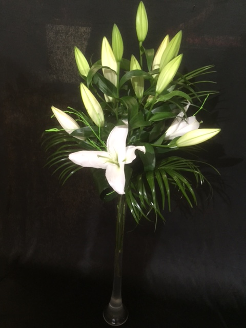 Lily And Palm Arrangement In Vase Passion Flowers